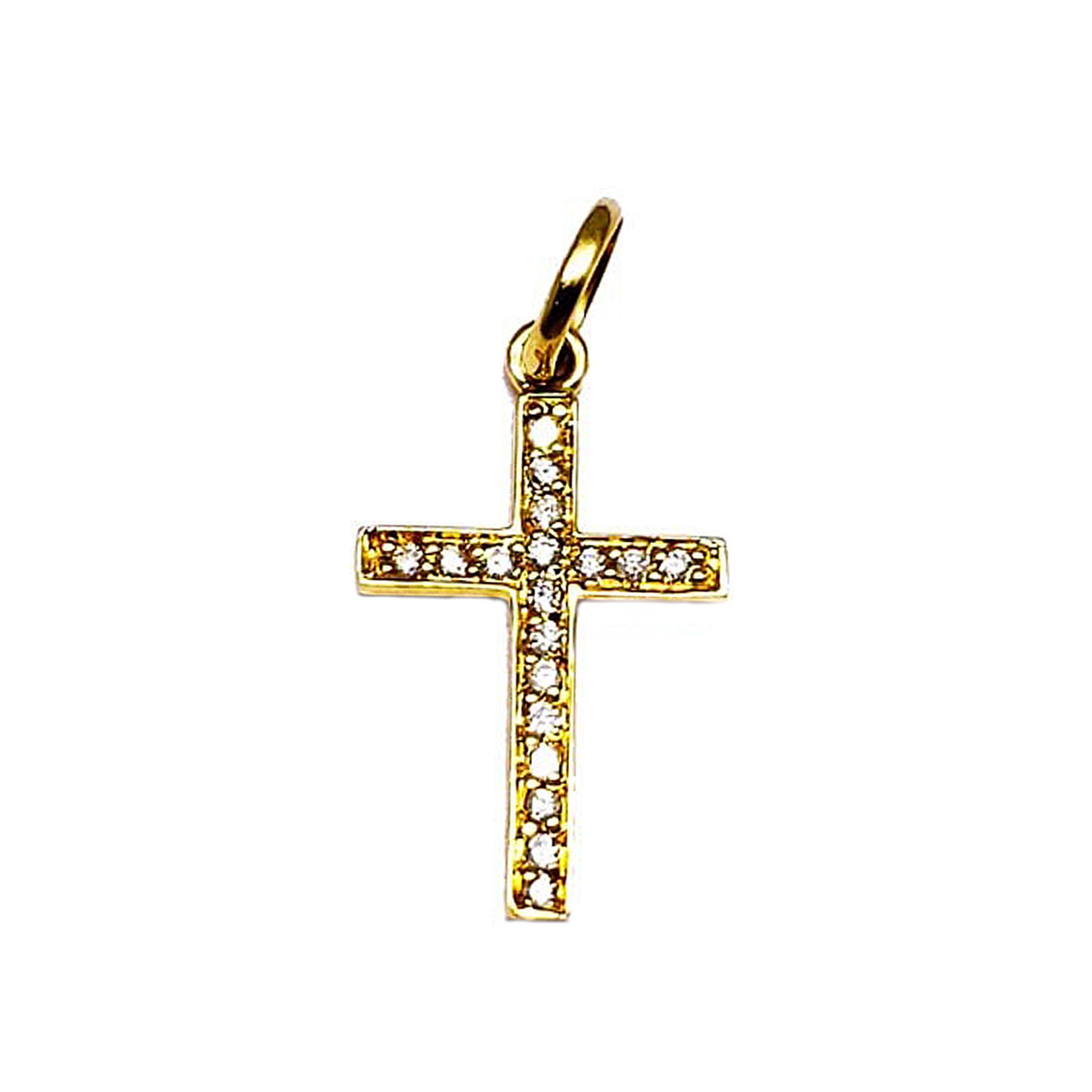 Pingente Cruz Palito c/ Diamantes em Ouro 18 Kilates
