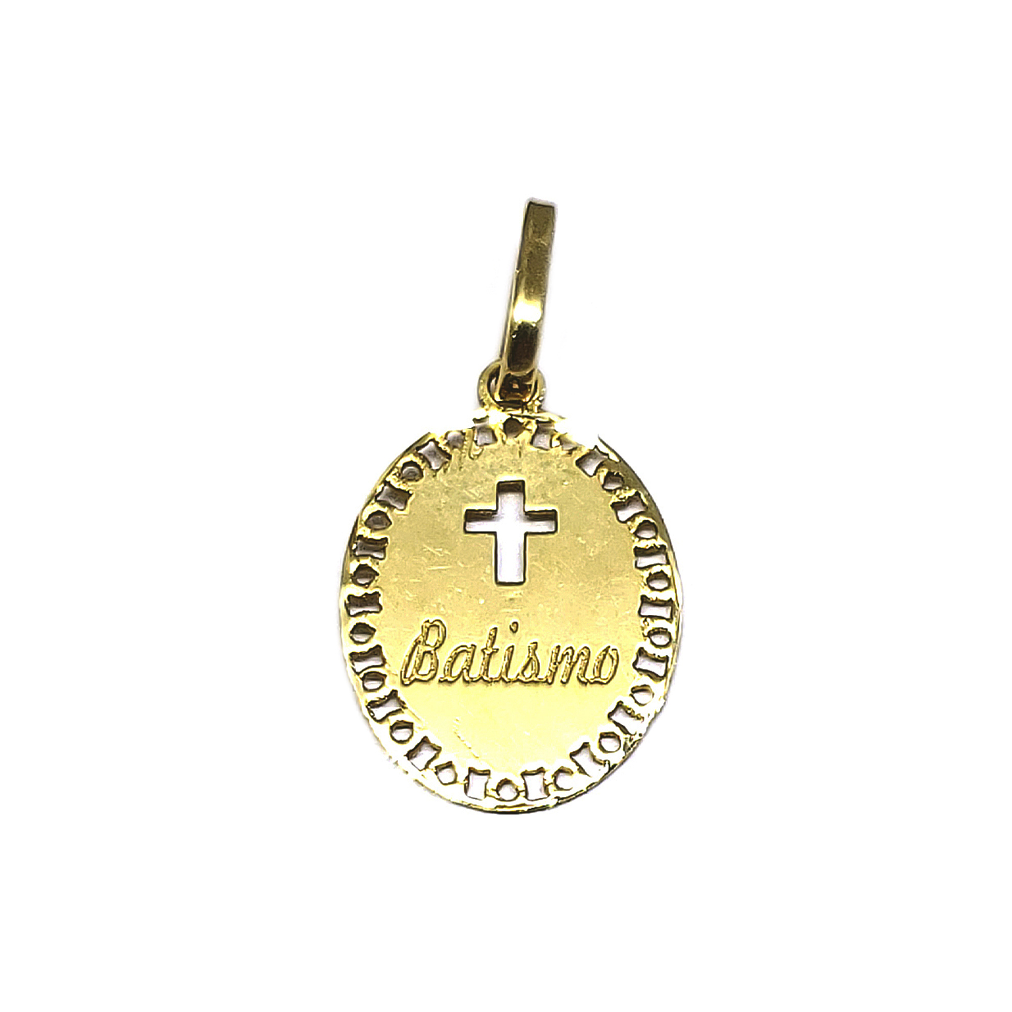 Pingente Medalha Batismo em Ouro 18 Kilates