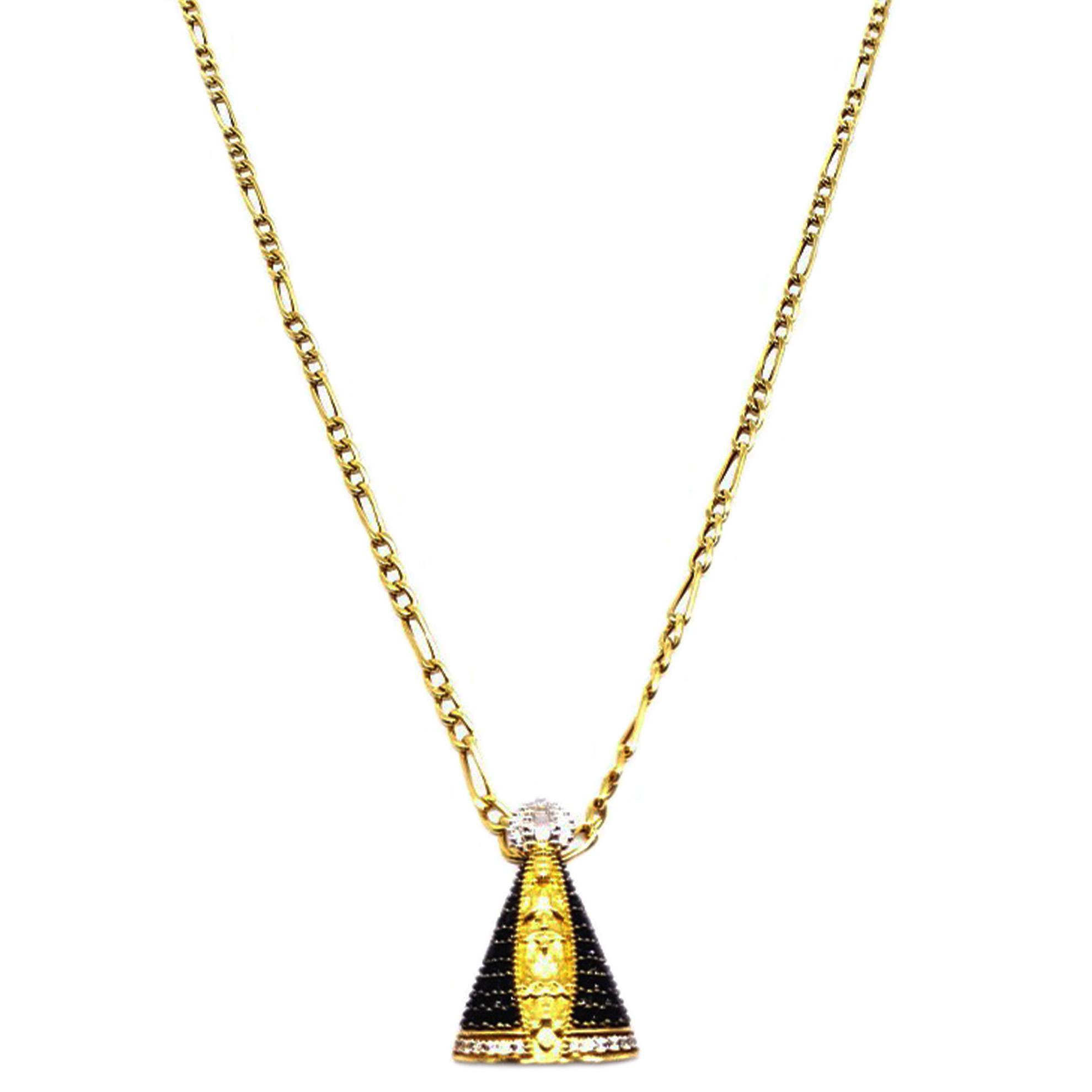 Pingente Nossa Senhora Aparecida c/ Onix em Ouro 18 Kilates