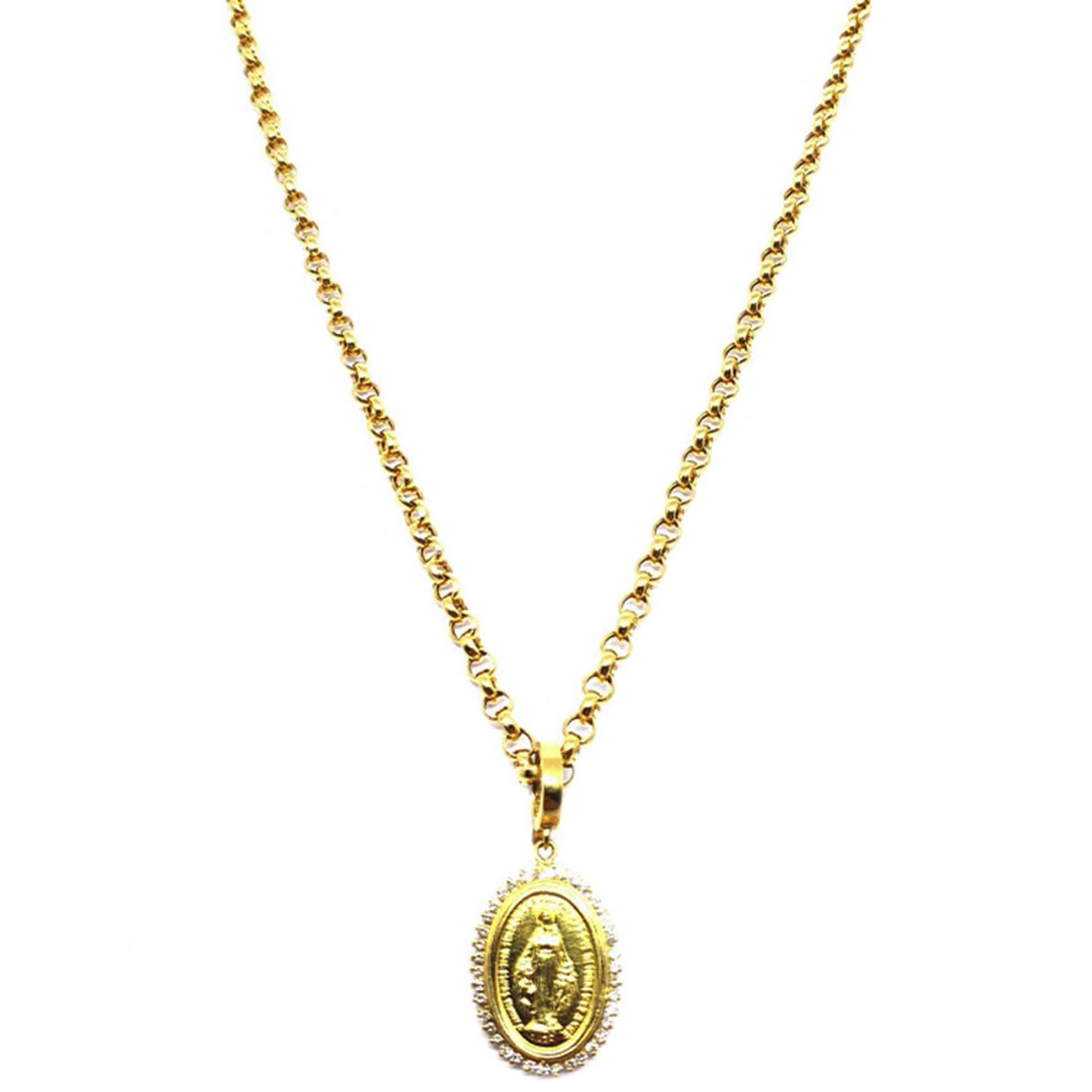Pingente Nossa Senhora das Graças c/ Diamantes em Ouro 18 Kilates