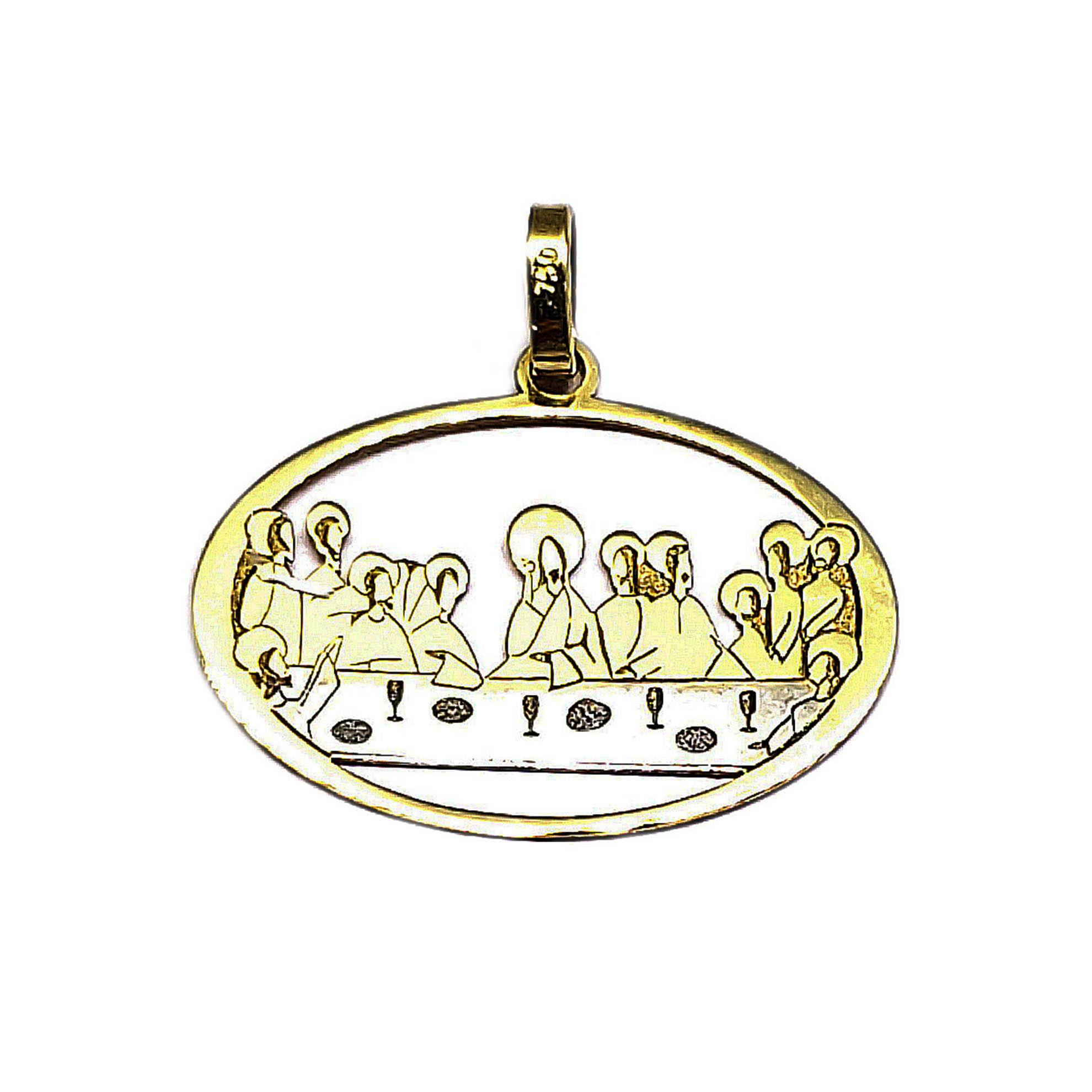 Pingente Santa Ceia em Ouro 18 Kilates