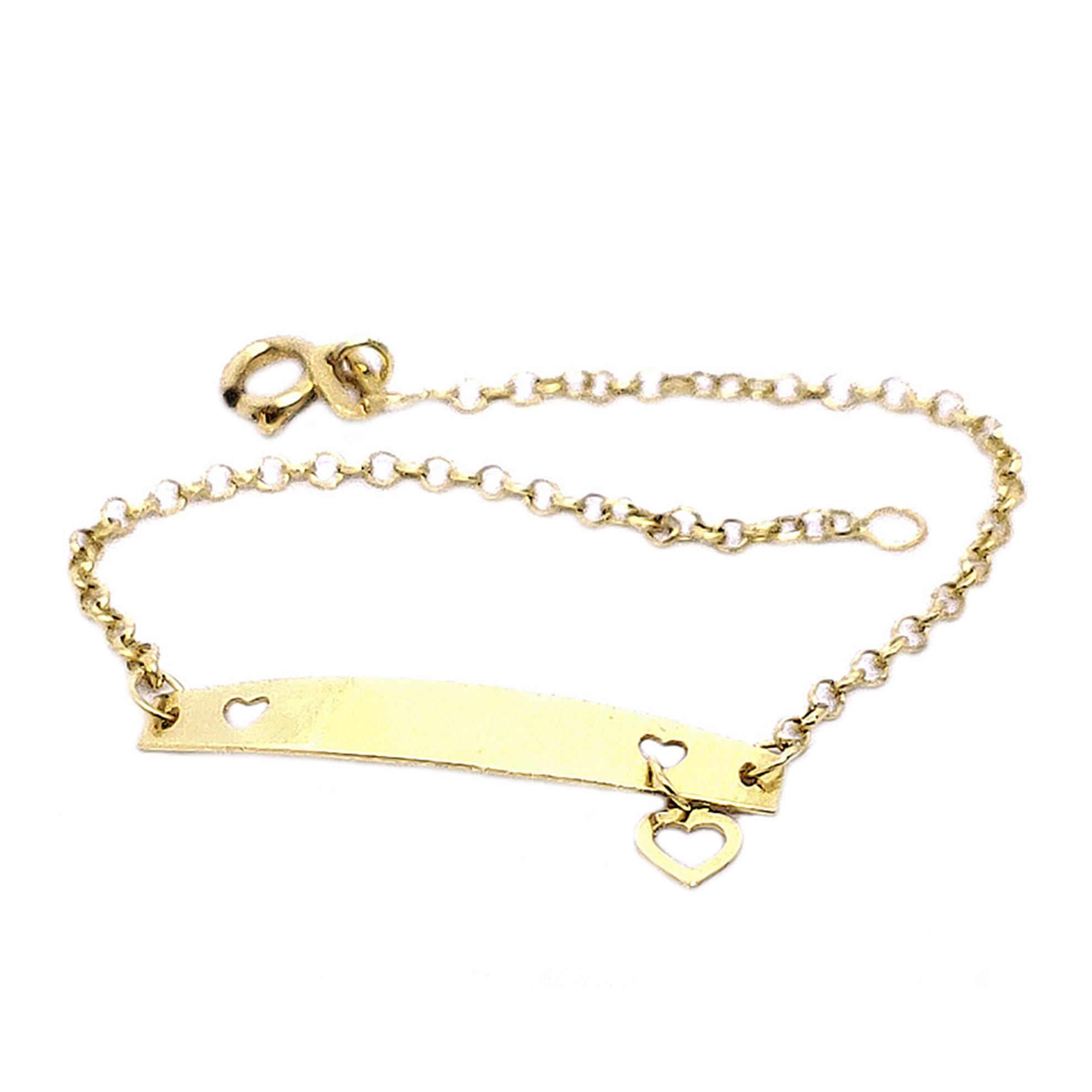 Pulseira Chapinha Baby c/ Coração em Ouro 18 Kilates