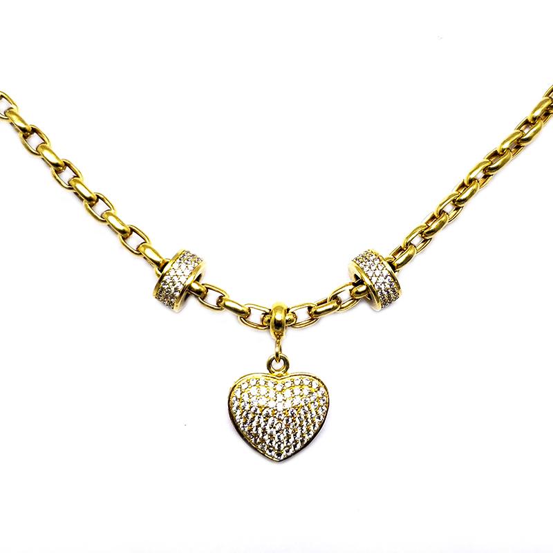 Pulseira Coração e Elos c/ Zircônias em Ouro 18 Kilates