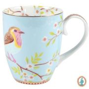 Caneca Grande Early Bird Azul Floral Pip Studio