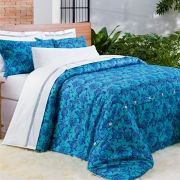 Kit Edredom  Dolce Vitta - Azul Tiffany - Super King - 3 Peças