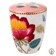 Porta Escova de Dentes Rosa/Branco - Floral Fantasy