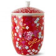 Pote com Tampa Chinese Rosa Floral Pip Studio