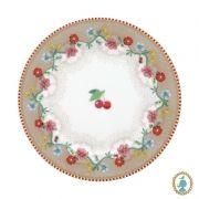 Prato de Pão Cherry Cáqui - Floral