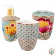 Set 3 Acessórios de Banheiro Azul e Cáqui - Floral Fantasy