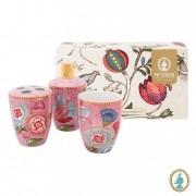 Set/3 Acessórios de Banheiro Rosa - Floral Fantasy