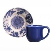 Xícara de Café com Pires Coral Blue (6 Unidades)