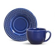 Xícara de Chá com Pires Madeleine Azul Navy (6 Unidades)