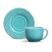 Xícara de Chá com Pires Madeleine Azul Poppy (6 Unidades)