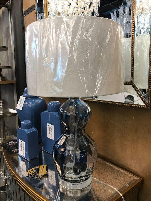 Abajur de Vidro Azul c/ Cupula de Tecido - Cod.: FA138 - FR