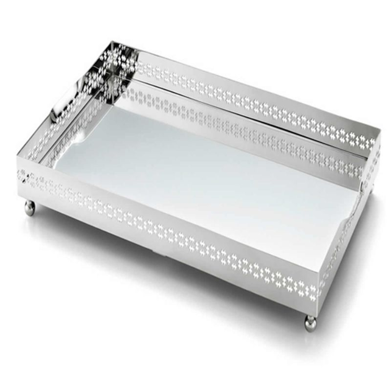 Bandeja Retangular Mirror Cross Média Prata - Cód: 2293