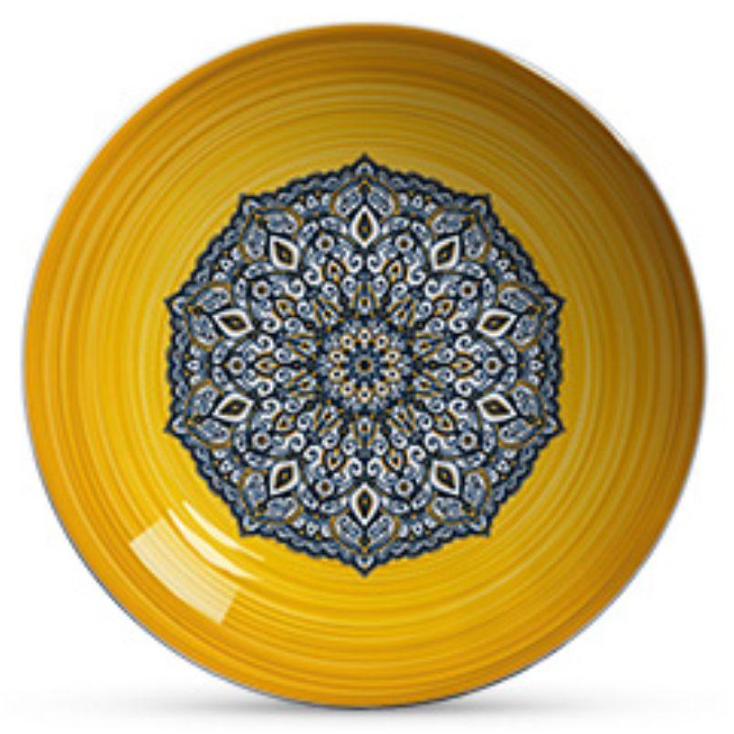Prato Fundo Bombaim Azul com Amarelo (06 Unidades)