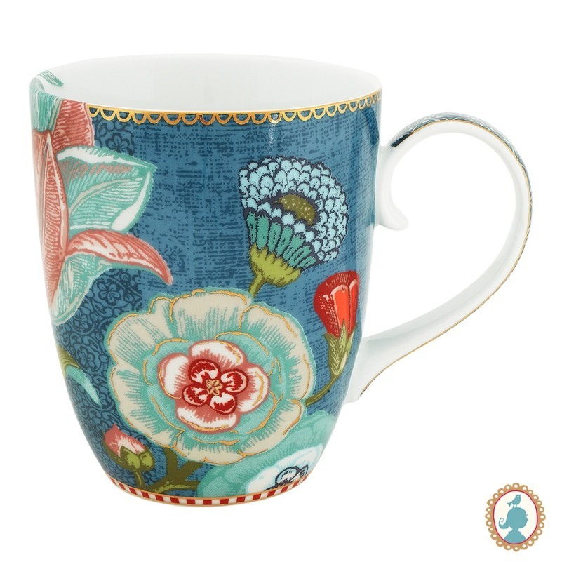 Caneca Grande 350ml Flower Azul - Spring to Life