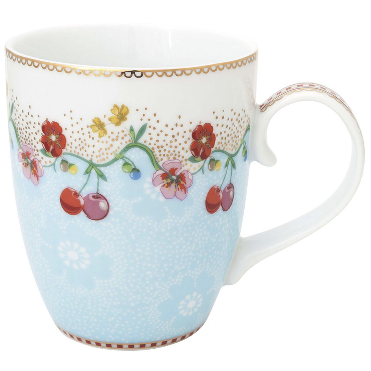 Caneca Grande Cherry Azul - Floral - Pip Studio