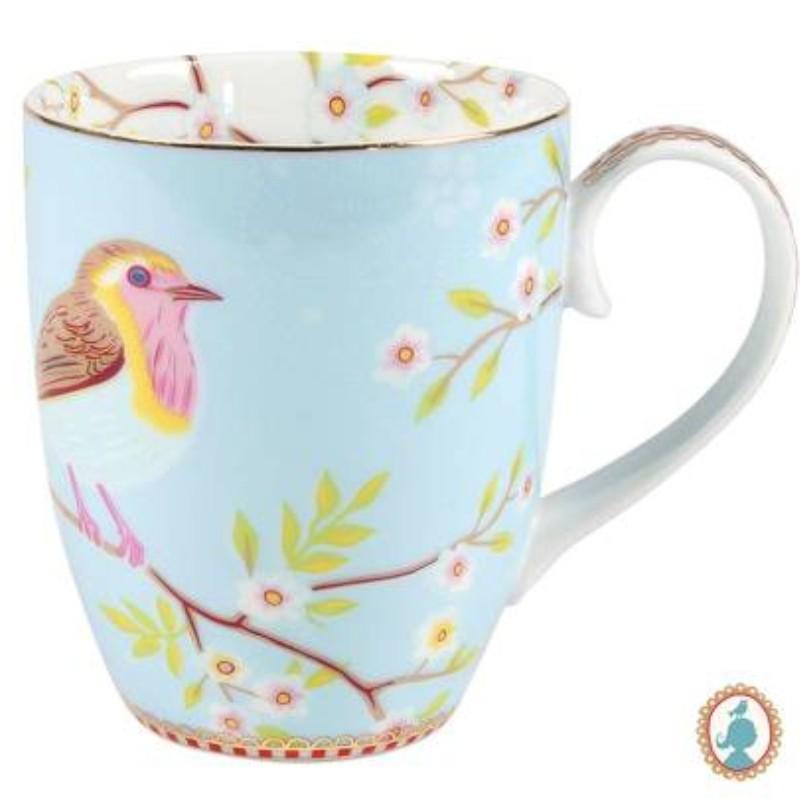 Caneca Grande Early Bird Azul Floral Pip Studio