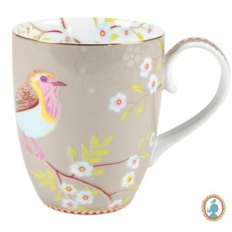 Caneca Grande Early Bird Cáqui Floral Pip Studio