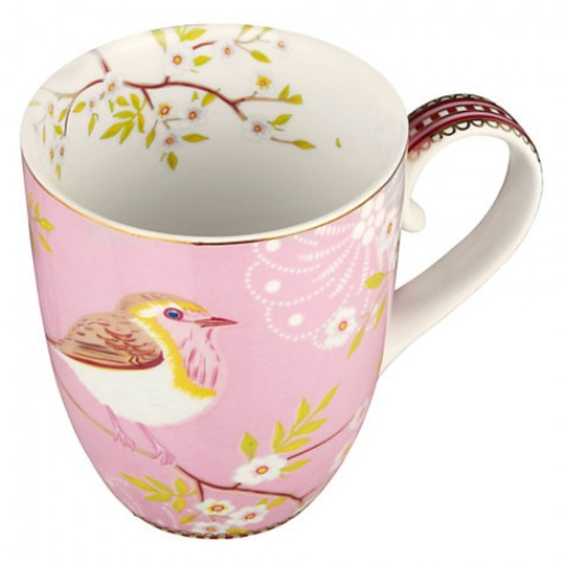 Caneca Grande Early Bird Rosa Floral Pip Studi