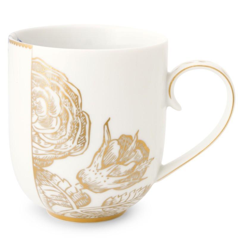 Caneca Grande Golden Flower - Royal White - Pip Studio
