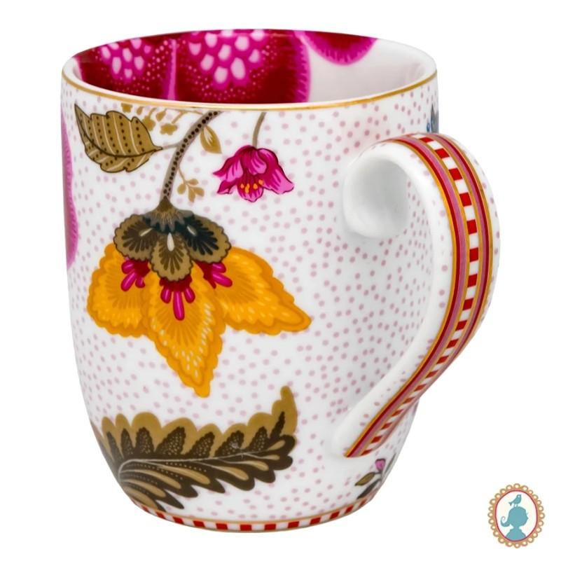 Caneca Pequena Fantasy Branco - Floral Fantasy