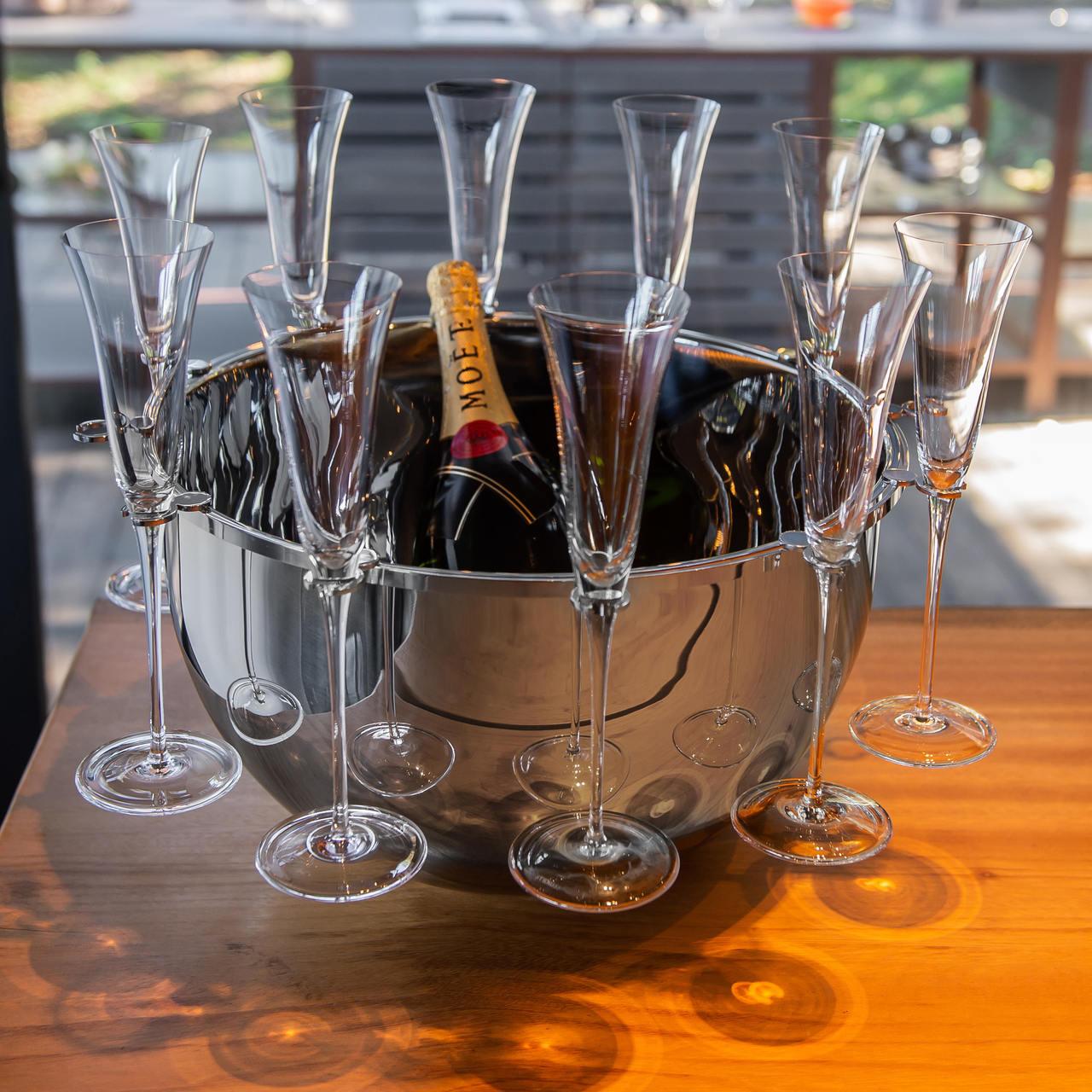 Champanheira Bottega em Inox c/ suporte 12 taças - Cód.: R02168 - RV