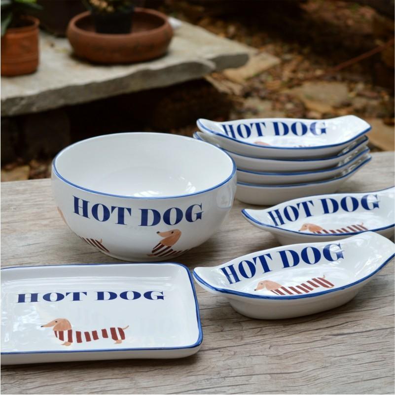 Conjunto Hot Dog Pintado à Mão - 8 Peças - LS