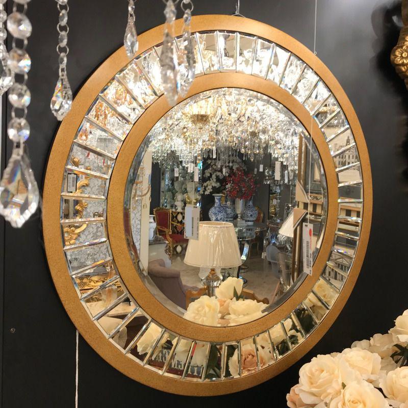 Espelho Veneziano Redondo Dourado - 80cm - Cód. WM721 - FR