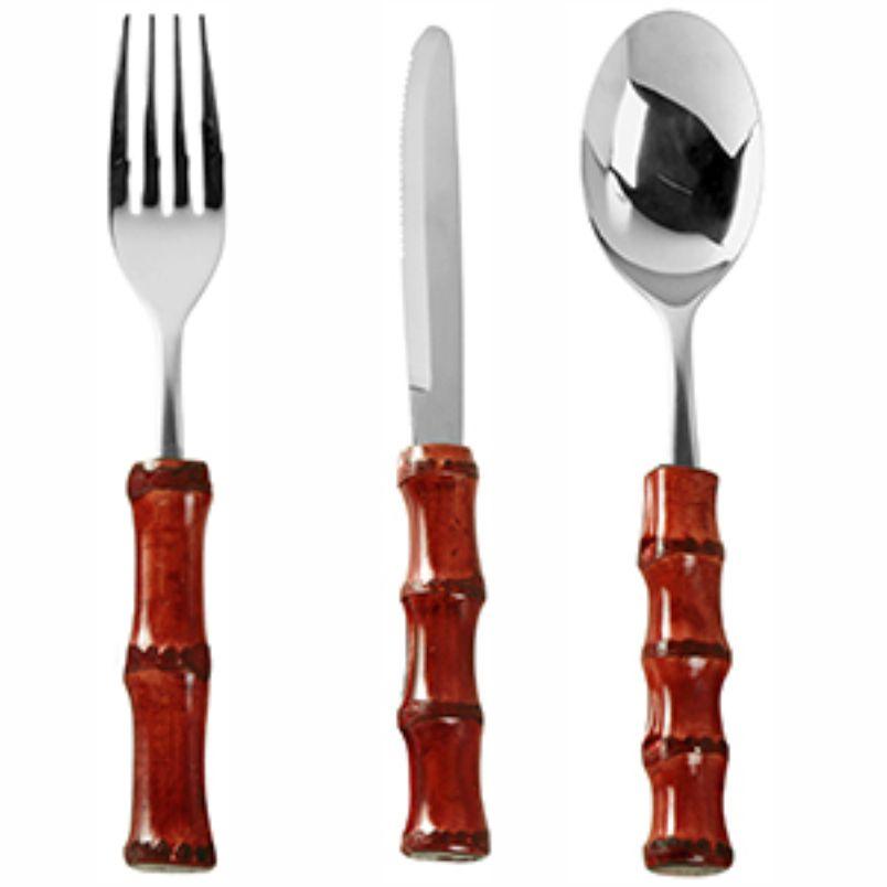 Faqueiro de Inox e Bambu Vermelho (18 Peças)
