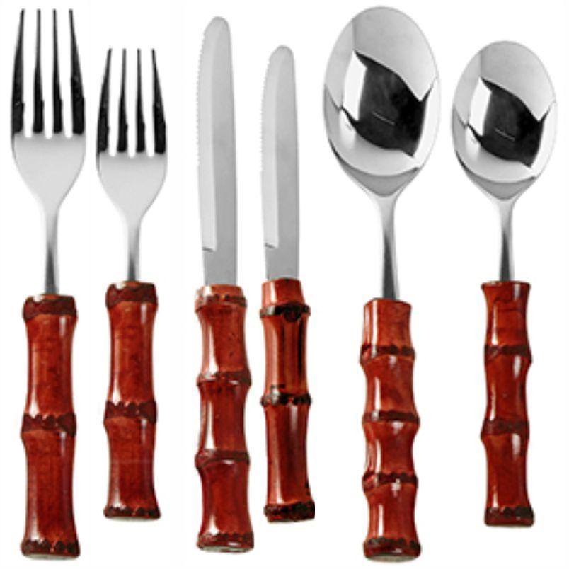 Faqueiro de Inox e Bambu Vermelho (36 Peças) - MB
