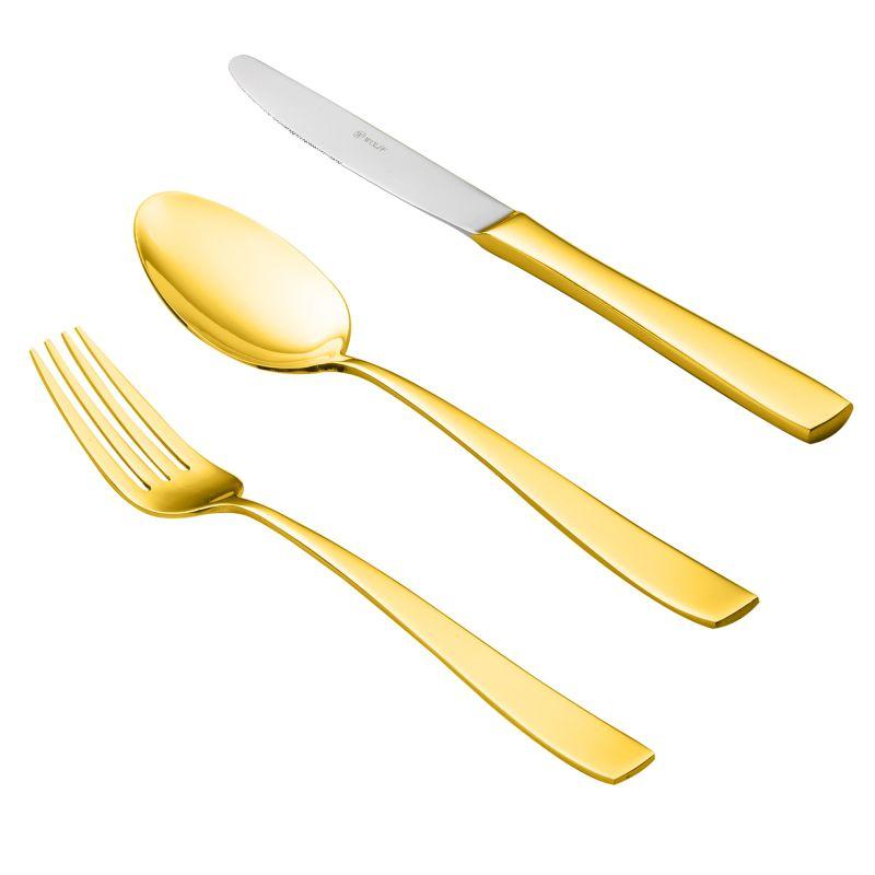 Faqueiro Pisa 101 Peças - Dourado - Cód:77330 - WF