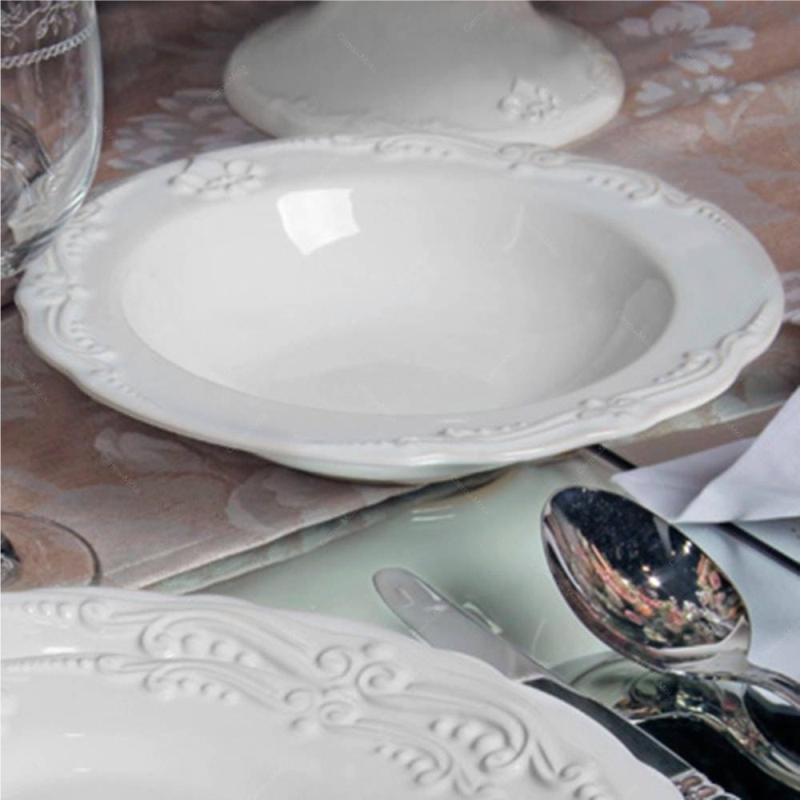 Flor de Lis Branco - Aparelho de Jantar 42 Peças (6 Pessoas)
