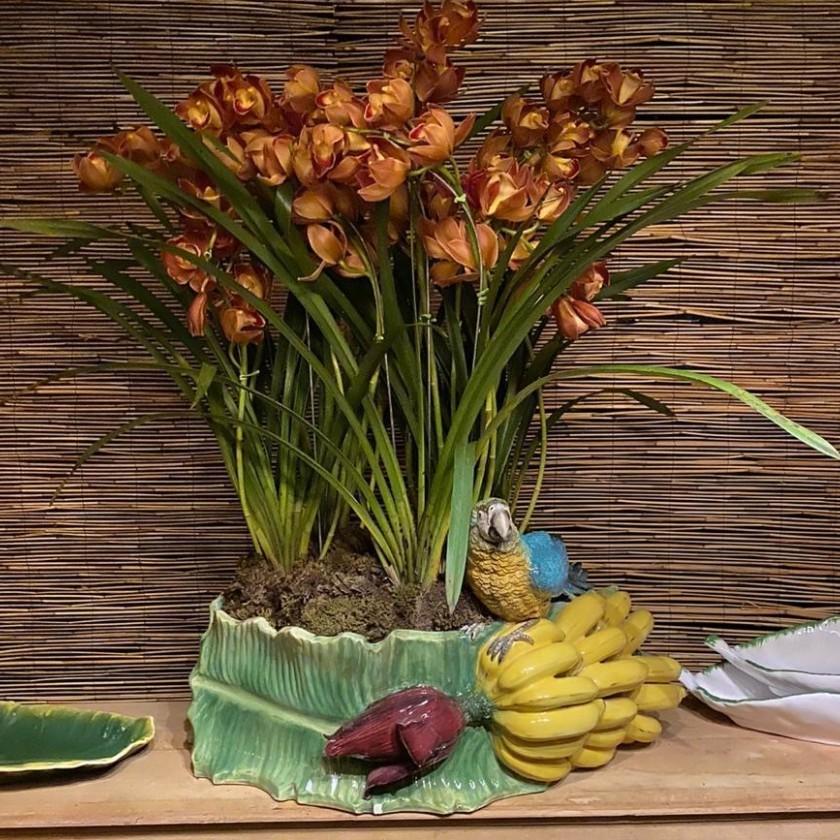 Floreira de Banana com Arara e Penca de Banana (60cm Comp) - Cód.: 9265 - ZC