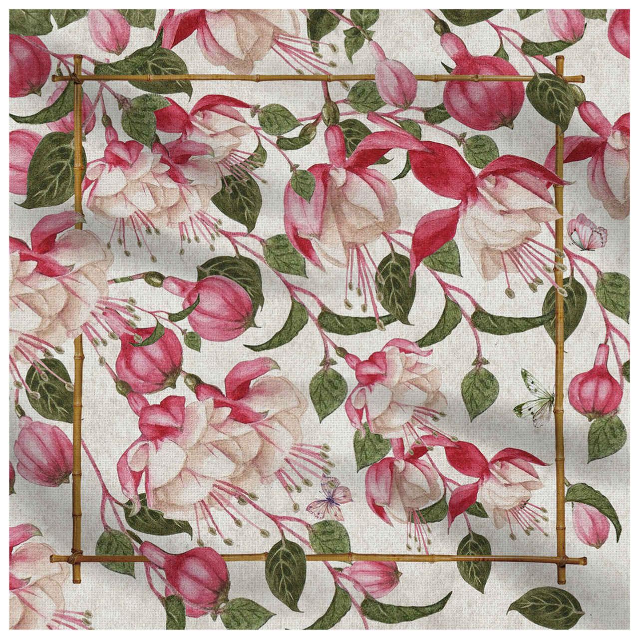 Guardanapo de Linho Fuchsia Flowers (06 Unidades) Cód.: 4120 - MB