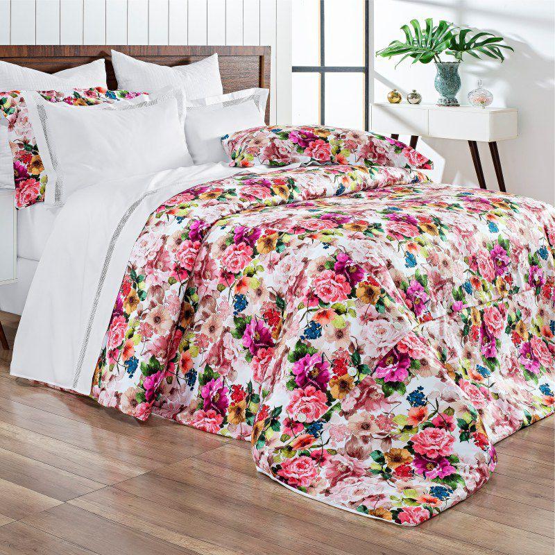 Kit Capa de Edredom Dolce Vitta Floral Colorido - Super King - Cód 8283 - BC