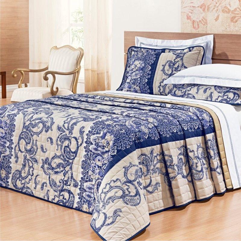 Kit Cobre Leito Nobre Azul Estampado Super King - Cód 10292