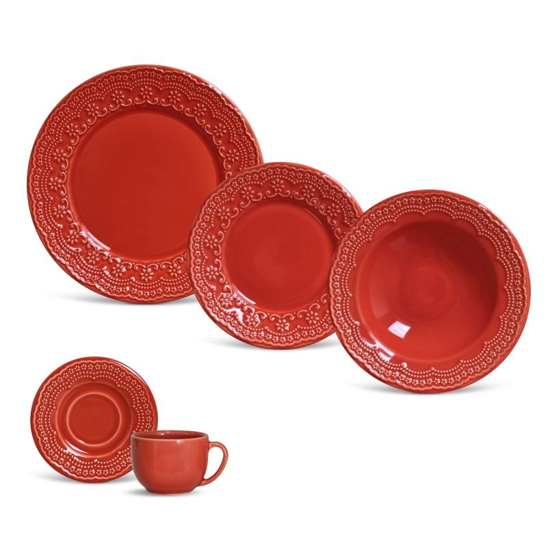 Madeleine Vermelho - Aparelho de Jantar 20 Peças (4 Pessoas)