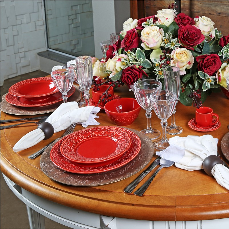Madeleine Vermelho - Aparelho de Jantar 30 Peças (6 Pessoas)