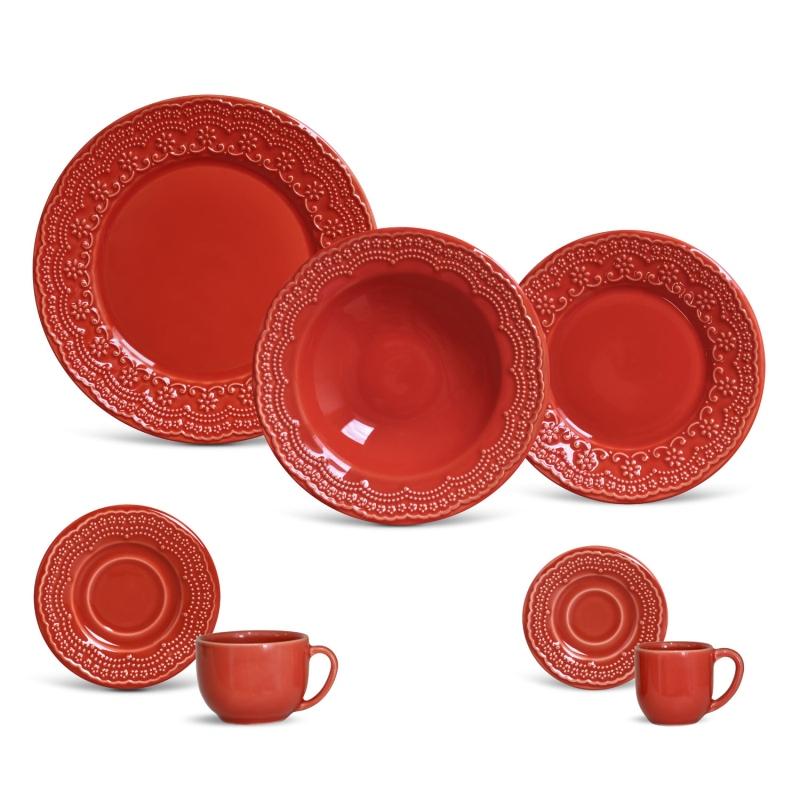 Madeleine Vermelho - Aparelho de Jantar 42 Peças (6 Pessoas)
