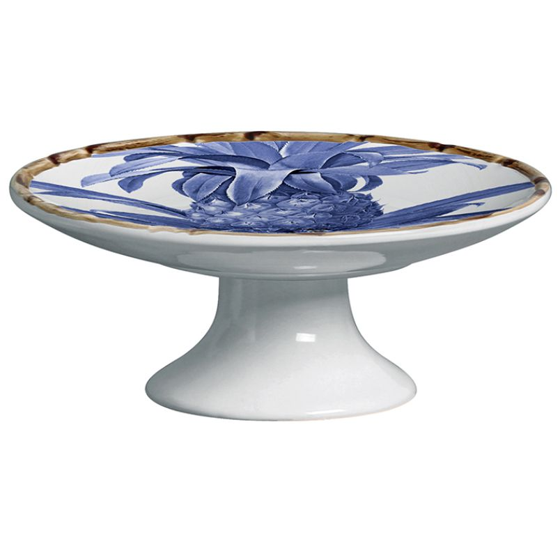 Prato para Petit Four Abacaxi Azul Royal