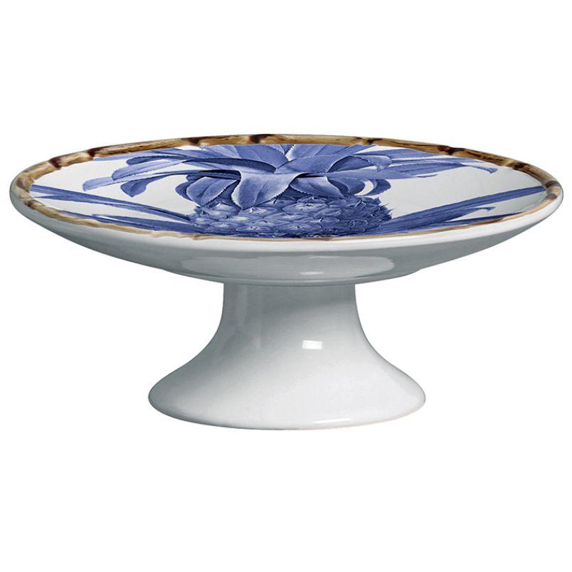 Prato para Petit Four c/ Pé Abacaxi Azul Royal