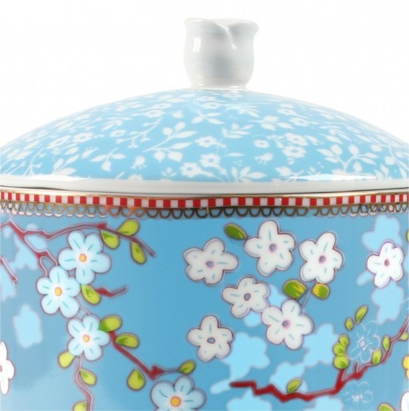 Pote com Tampa Chinese Azul Floral Pip Studio