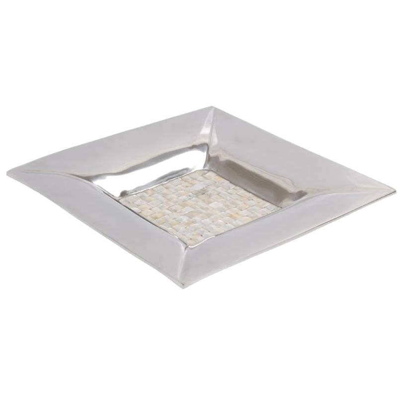 Prato Alumínio e Madrepérola 35x35cm - Cód. 15060