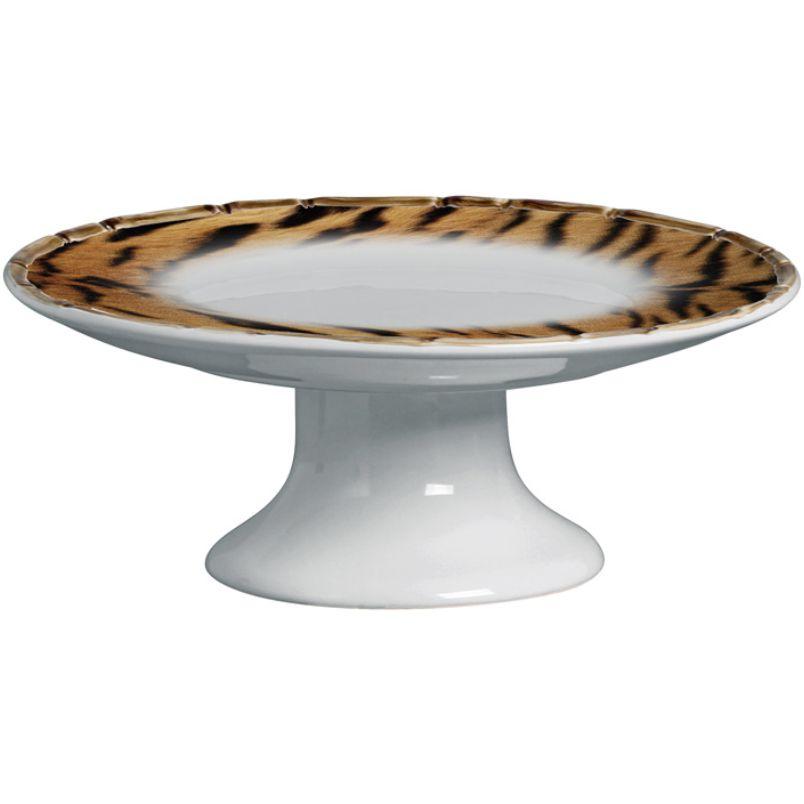 Prato para Bolo c/ Pé Fauna Tigre