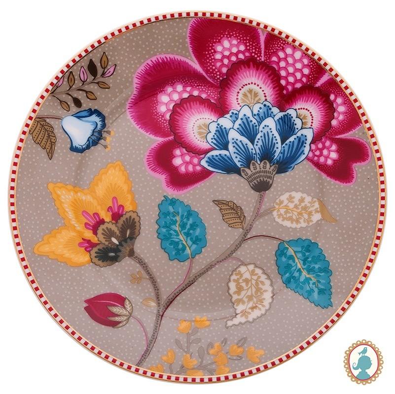 Prato de Pão Cáqui - Floral Fantasy