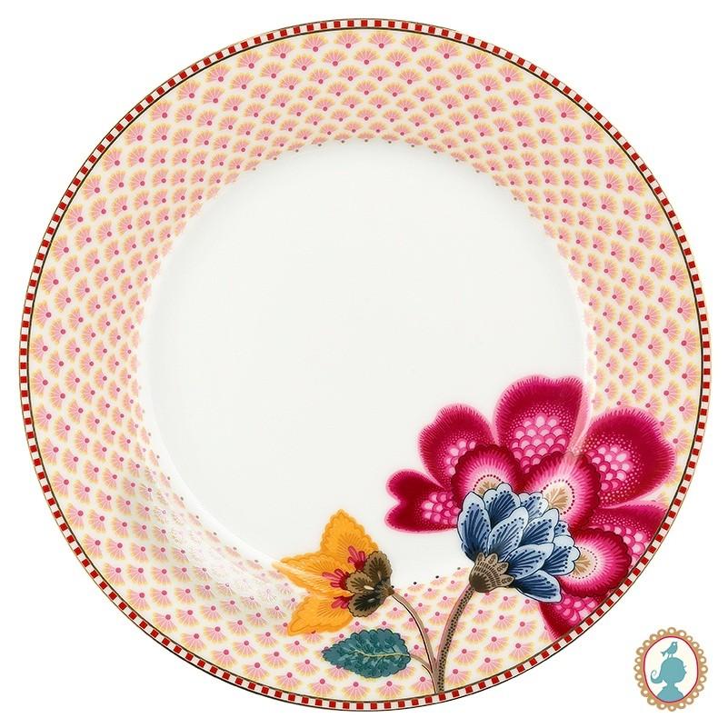Prato Sobremesa Branco - Floral Fantasy