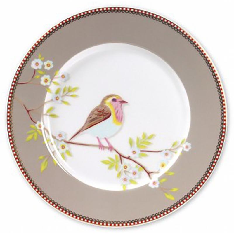 Prato Sobremesa Early Bird Cáqui Floral Pip Studio