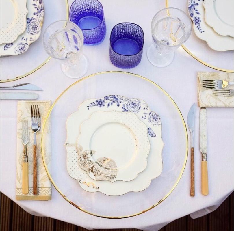 Prato Sobremesa Flowers - Royal White